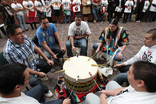 CBU students drum Idle no more